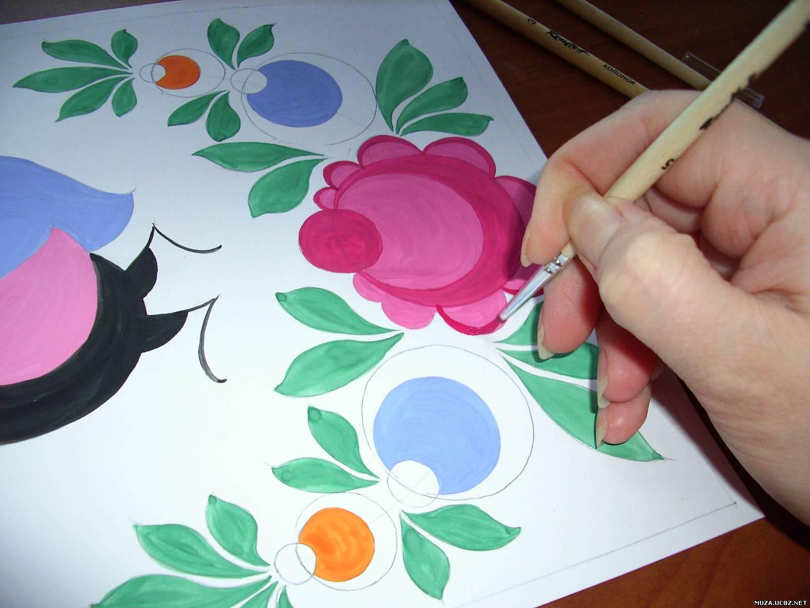 Городецкая роспись картинки цветов 2