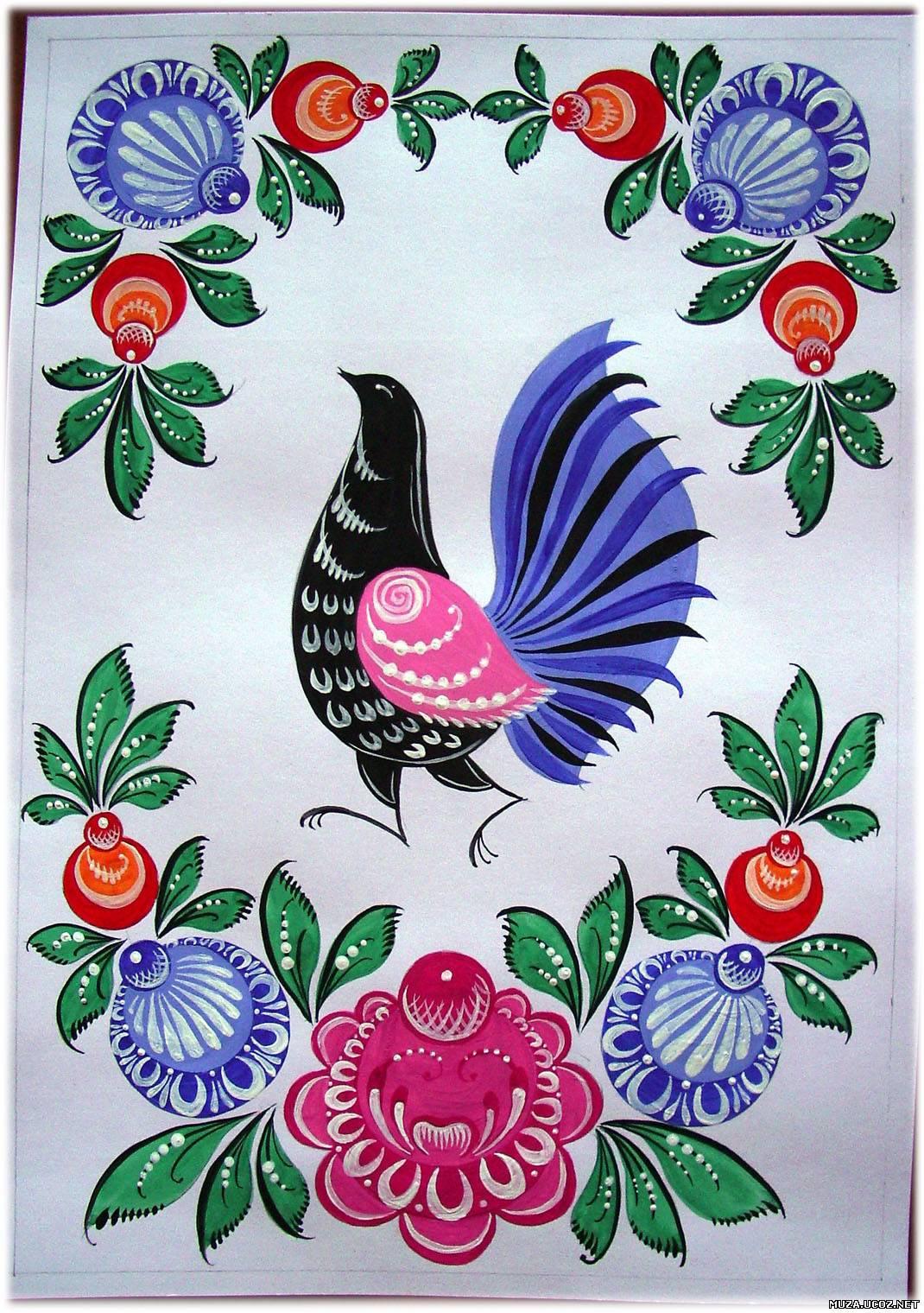 Городецкая роспись птица с цветами