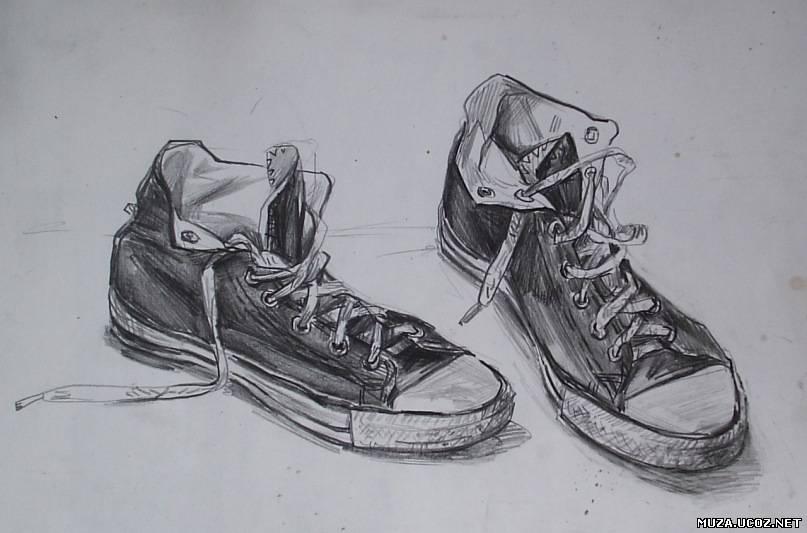 Как нарисовать голубые кроссовки простым карандашом