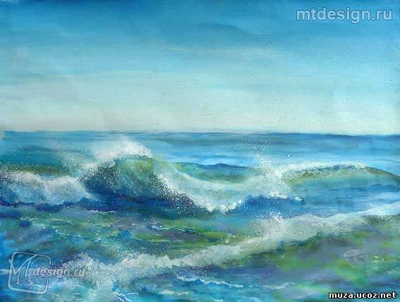 Как рисовать море волны красками